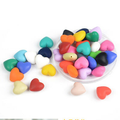 Loose Heart Silicone Beads Baby Nursing Chew Jewelry Teething Necklace Teether