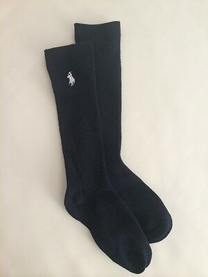 Kids Girs Black Ribbed KNEE-HIGH Embroidered Pony Socks ✿approx 3-7 years