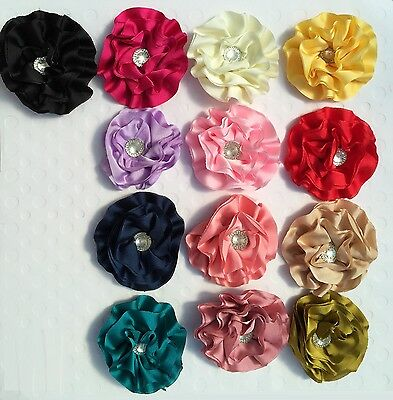 $2 POST* DIY Ruffle Shabby Chiffon Flower with Rhinestone Embellishment Craft