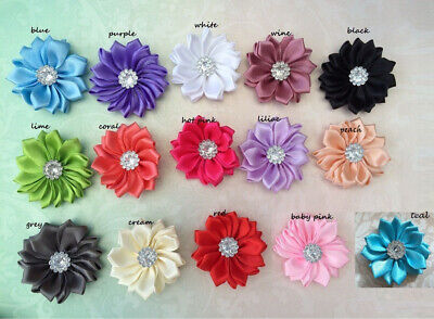 NEW DIY mini Satin Daisy Flower Embellishment baby Headband Handmade Craft Bulk