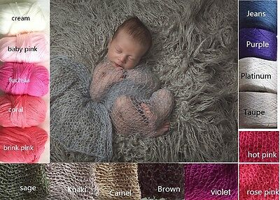 *So Soft*  Silky Cotton Cashmere Crochet Wrap for newborn baby knit photo prop