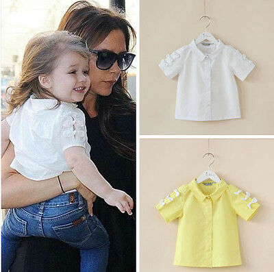 Toddler Girls Bow detail Cotton Blouse kids top short sleeves Size 2.3.4.5.6.7.9