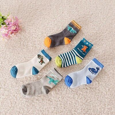 BULK... 5 pairs Kids Boys Dinosaur Theme Casual Socks ..fits 4-6-8 years