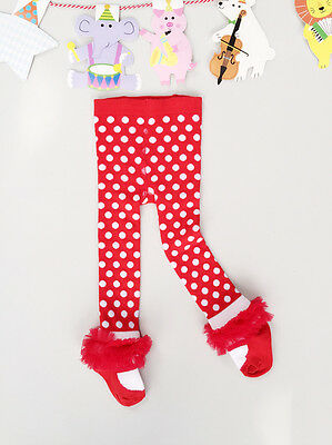 NEW Baby Girls Red Spots Sock Tights, great for festival bday, size 1-2  3-4