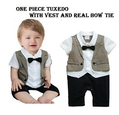 Baby Boy Short Sleeve Tuxedo coffee houndstooth Romper w/ bow detail Size 0/1/2