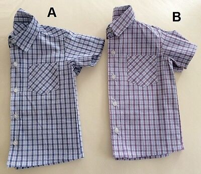 NEW Toddler Boys Gingham Check Cotton Plaid Shirt Top Size 2/3/4/5