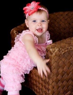 Pink Petti Ruffle Romper Newborn Infant Toddler Girl with straps & Bow 0-18 mos