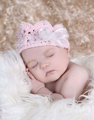 Newborn Baby Girl Crochet Headband Tiara in Pink with Pearls ANY AGE photography