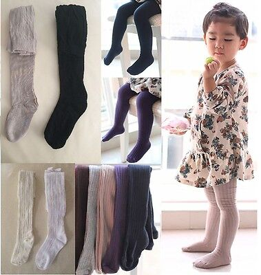 NEW Kids Girls School Cotton Knit Sock Tights, 1-8yrs, white ivory khaki black