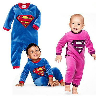 Baby Boys Girls Superman Autumn Winter One-Piece Jumpsuit 6-24 mos Size 0/1/2