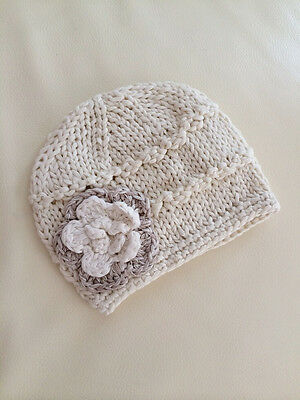 NEW Newborn Baby Girl Crochet Knit Cotton Flower Beanie  **ivory or baby pink**