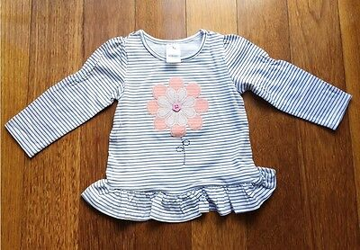 NEW baby girl Flower embroidery Long Sleeve Top with Frill Size 6m - 24months