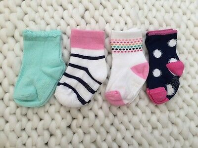 3/4 Pack, SALE NEW Tommy Stay On GRIP SOLE Socks, Baby Girls, Size 12-24mos, 1-2