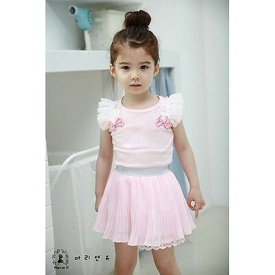 NEW Baby Toddler Girl Pink Frilly Top & Skirt Pink 2 piece SET Size 0