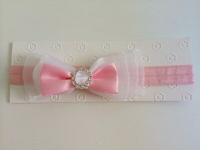 NB Baby Girl Stacked Bow Pink & White Interchangeable Headband fits 0-18 mos