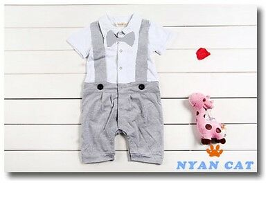 Baby Boy Formal Tuxedo SHORT Sleeve One-Piece Romper Suit size 00/0/1/2 grey