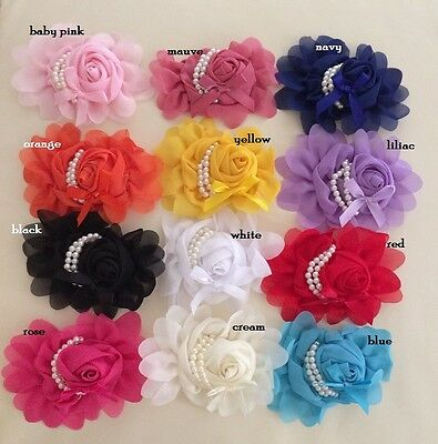 DIY Vintage Large Rose & Pearls Chiffon Flowers Embellishment Craft