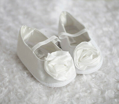 NEW Baby Girl Satin off white Christening Shoes, size 6-9-12 months size 2.3.4