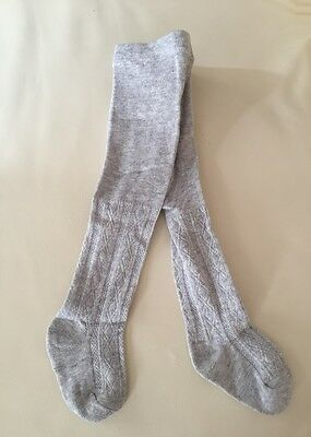 NEW Newborn Baby Girl Combed Cotton Sock Tights NB, 0-3 mos, So soft, grey
