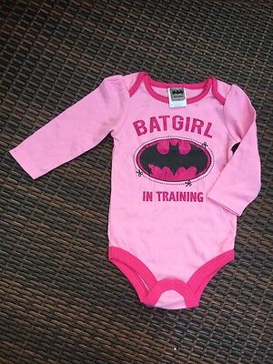 Licensed ''BatGirl in Training'' Baby Long Sleeve Bodysuit size 0-3-6-12 mos