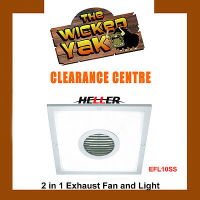 Heller 250mm 2 in1 Square Light & Exhaust Fan Laundry/Bathroom EFL10SS-NEW