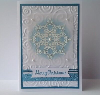 Handmade Christmas card; Star flake - blue.