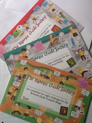 Girlguiding UK: Brownie Guide Journey Certificates; Footpath, Road, Highway. New