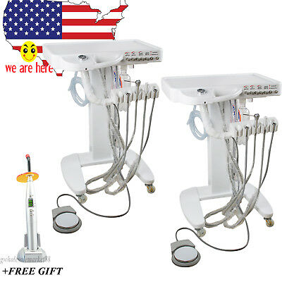 2x Mobile Dental turbine unit Delivery Cart Bottle tapwatersupply CURING light
