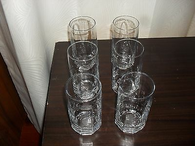 Crystal High Ball tumblers in octagon pattern x6