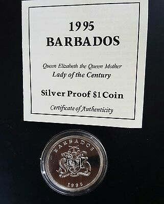 1995 Barbados - $1 - Lady of the Century .925 (Silver Proof Coin)....