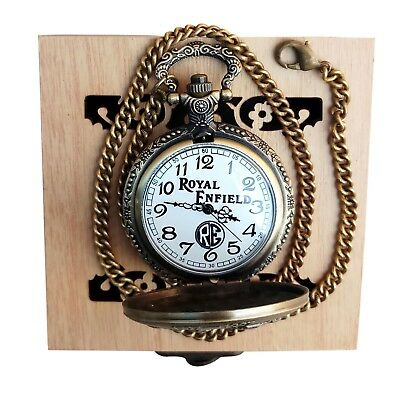 Unique Royal Enfield Vintage type Pocket Watch With Wooden Box Brand New
