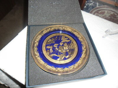 Blue Willow Pattern, Gold Willow 24Ck Gold Decoration, Plate In Original Box