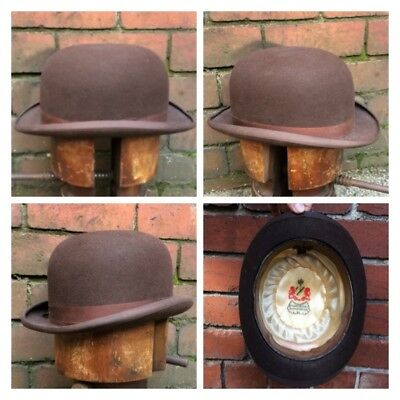 XL 60cm (7 1/4) V RARE c 1940s BROWN ENGLISH DERBY BOWLER HAT BY DUNN & CO