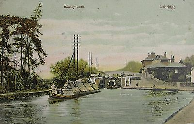 Barges At Cowley Lock Uxbridge Middlesex 1906 Pc