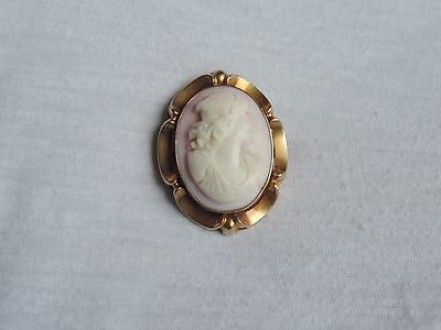 Antique 10K Gold Cameo Brooch Pendant Jewelry 10.4 grams (id227)