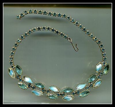 Vintage Aquamarine Givre Glass Stone Necklace - Truly Magnificent