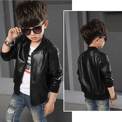 Boy Coats Faux Leather Jackets Children Fashion Outerwears Jackets Brown Black