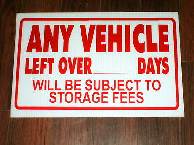 Auto Repair Shop Sign: Vehicle Storage Fee