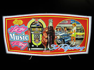 Vintage LED Lighted Sign: Coca-Cola, Jukebox, Drive-in Montage