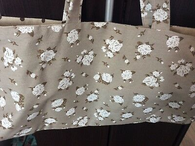 knitting bag,19 x 9 inch,brown floral,brown spot Lining.