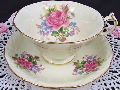 Paragon Pink Roses Forget Me Not Floral Embossed Tea Cup And Saucer
