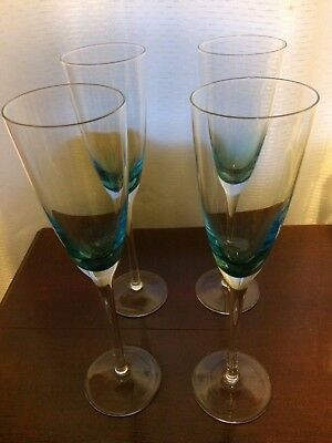 Hand Blown Iridescent Blue Tall Crystal Champagne Flutes x 4