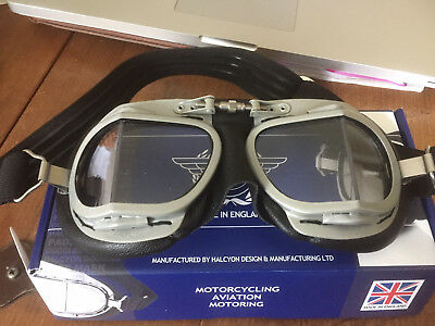Halcyon Mark 9 Vintage Motorcycle / Aircraft Goggles in box