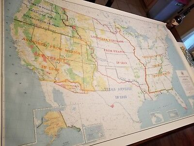 VINTAGE US MAP history extra large RARE 1964 from US Department of ...