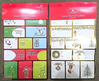 New 72pc Christmas Gift Labels Foil Xmas Present Labels Self Adhesive Sticky Tag