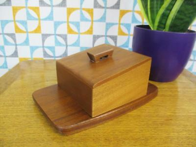 Vintage 1960's Teak Butter/Cheese Dish Serving Retro Mid-Century Home
