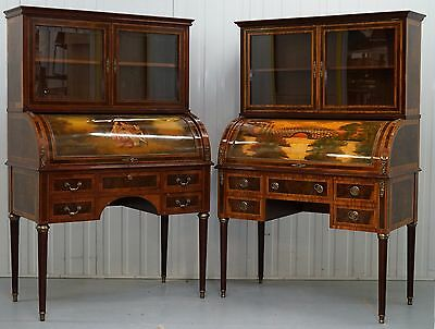 Pair Of French Louis Xvi Neoclassical Secretaire Bookcase Desks Vernis Martin
