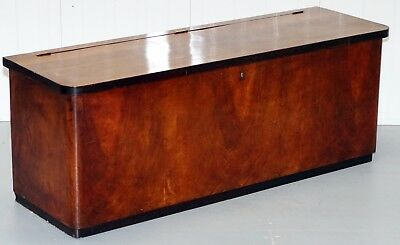 Antique Flamed Mahogany Chest Seat Or Bench With Open Top Large Storage Trunk