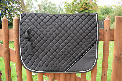 Diamante Saddle Pad Cloth Numnah With FREE Ears Brand New Full Size Black