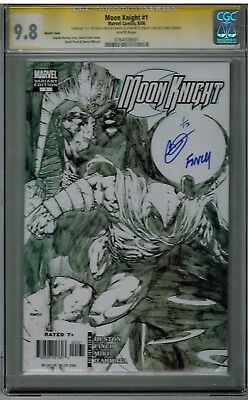 Moon Knight #1 Cgc Ss 9.8 Signed & Numbered Sketch Variant Finch & Huston 1/17